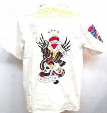 Ed Hardy CHRISTIAN AUDIGIER Mens Platinum New York Embroidered woven Shirt  Wht