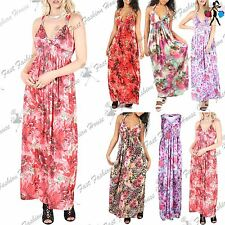 Womens Sheering Ruched Coil Jersey Ladies Sleeveless Floral Spring Maxi Dress