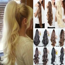 Women Clip In Hair Extension Claw Hair Piece Ponytail Pony Tail Brown Black F5V