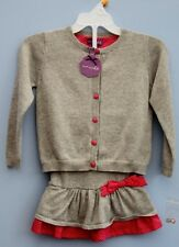 BNWT Shrinking Violet Grey & Pink Cotton Knitted Cardigan and Skirt Set Age 2-3