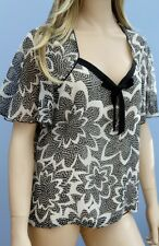 Jacques Vert Black & Ivory Short Sleeve Tunic Blouse Top Size 14