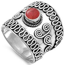 Bali Ring with Red Onxy .925 Sterling Silver Ring Sizes 6-12