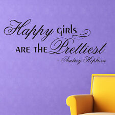 HAPPY GIRLS ARE THE PRETTIEST Vinyl Word Quote Wall Decal Audrey Hepburn Decor