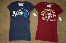 NWT Juniors AEROPOSTALE Embroidered Stacked T-Shirt in 3 Colors XS S M L XL FS