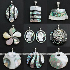 Natural Abalone Mother Of Pearl Shell Bead Charm Pendant Fit Iron Chain Necklace