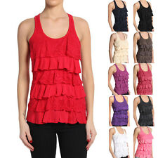 MOGAN Casual Solid Lace Tiered RACER BACK RUFFLE TANK TOP Cute Sleeveless TEE