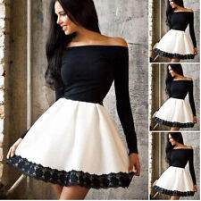 Sexy Women Off-shoulder Long Sleeve Lace Evening Party Skater Short Mini Dress