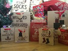 Individual Christmas Paper Gift bags Attached Gift Tags Vintage & Novelty Styles