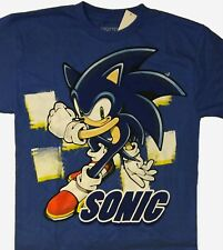 Sonic the Hedgehog t-shirt Size M L XL New Childs 10 12 14 16 Blue Sonic