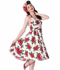 Hell Bunny 50's Cannes Rockabilly Halterneck Floral Dress White