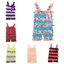 Newborn Infant Girls Lace Petti Ruffle Rompers TUTU Shorts 0-3Y One Piece Suit