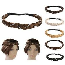 Women Girls Braided Wig Ponytail Elastic Rope Pretty Pearl Hair Band Headband