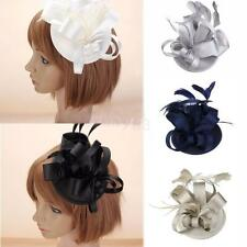 Vintage Wedding Satin Flower Feather Fascinator Headpiece Bridal Hairpin Clip