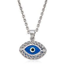 Evil Eye Bead Hamsa Charm Turkish Nazar Greek Pendant Sterling Silver Necklace