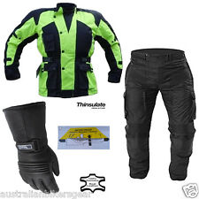 Motorcycle Hi Vis Avalanche Set - Waterproof CE Armoured Thermal Jacket Trousers