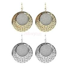 Women Retro Vintage Hollow Round Hook Earrings Jewelry for Dinner Party