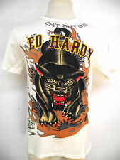 ED HARDY CHRISTIAN AUDIGIER MENS  PLATINUM STUDDED PANTHER TEE SHIRT NWT STONES