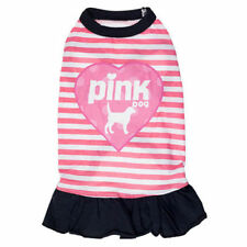 "Fashion Cute Fancy Dress ""Pink Dog"" For Small Pets Clothes Stripes Skirt Pink"