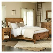 Rustic Bed Frame with Storage Country Themed Farmhouse Decor Bedroom Furniture