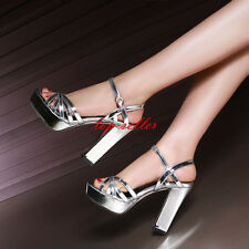 Womens Thick Heel Buckle Strap Platforms Patent Leather Sandals Prom Party Shoes
