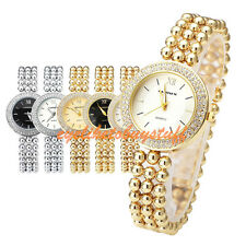 Elegant Women Crystal Case Three-row Beads Band Bracelet Quartz Wrist Watch Gift