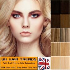 Extra Thick Hair Double Weft Remy Human Hair Extension Clip In Full Head UKQU342