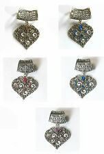 Scarf Pendant Fashion Jewelry Crystal Heart Design Red Blue Pink Color Choice