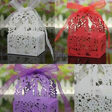 50Pcs Love Heart Shape Ribbon Gift Candy Boxes Wedding Party Supply 3 Colors