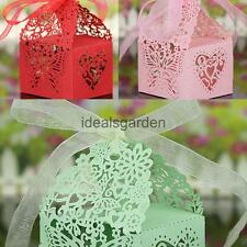 50Pcs Butterfly Shape Ribbon Gift Candy Boxes Wedding Party Supply 3 Colors