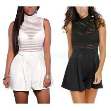 Sexy Solid Stripe High Collar Sleeveless Perspective Shorts Rompers Black/White