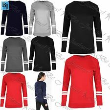 Womens Ladies Jumper Striped Fleece Knitted Pullover Sweatshirt Top Plus Size