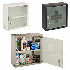 Medicine Cabinet Wall Mountable Glass Door First Aid Box Lockable Keys Cupboard