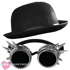 STEAMPUNK SILVER GOGGLES + BLACK BOWLER HAT VICTORIAN SCI-FI FANCY DRESS COSTUME