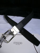 New Coach Men Black Leather Classic Belt Silver Buckle F90107 - 34 36 38 40