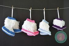 infant newborn baby boy girl twins knitted crochet booties present 0-12 months