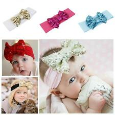 Baby Girl Toddler Sequins Bowknot Headband Hairband Stretch Turban Headwear Wrap