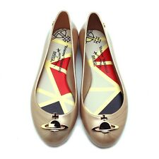 "NEW VIVIENNE WESTWOOD ANGLOMANIA X MELISSA Gold ""SPACE LOVE II"" Orb Jelly Flats"