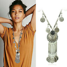 Sexy Famale Vintage Coin Long Pendant Necklace Chain Gypsy Tribal Ethnic Jewelry