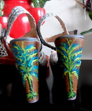 Hand Painted Madison Collection Wooden Straps Effect Wedge Sandals