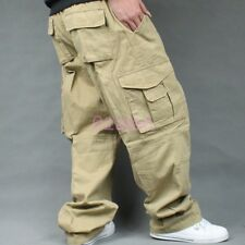 HOT Mens Plus Size Baggy Loose Cargo Carpenters Casual Overalls Pants Trounsers