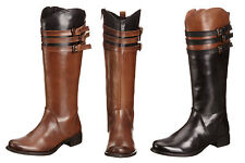 Ladies Ravel Mandarin Knee High Boot Black/Tan Leather with Double Buckles