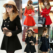Womens Lady Slim Fit Fur Collar Coat Jacket Trench Parka Outwear Overcoat Tops
