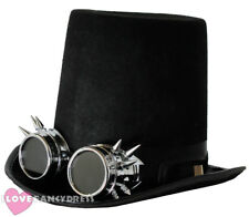 STEAMPUNK TOP HAT AND SILVER SPIKE GOGGLES GOTHIC SCI FI VICTORIAN FANCY DRESS