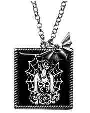 Sourpuss Webbed Girl Necklace Goth Emo Tattoo Punk Pin Up Rockabilly Psychobilly