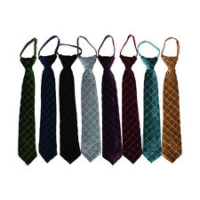 Boys Zipper Tie Quilted Velour Youth Necktie Formal Teen Kid Wedding Neck Tie