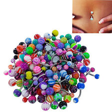 30/50 Pcs Mix Color Stainless Acrylic Ball Barbell Bar Navel Belly Button Rings