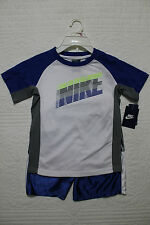 NEW BOYS NIKE WHITE BLUE GRAY 2 PIECE SET SHIRT AND SHORTS SPORTS OUTFIT NWT $40