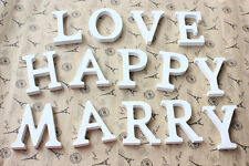 White Wood Letters A-Z Wedding Birthday Party Home Decor Diy Table Stand Craft