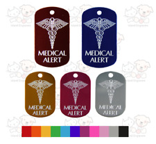 MEDICAL ALERT TAG MILITARY SHAPE INFORMATION DIAMOND ENGRAVED ON BACK 2 SIZES