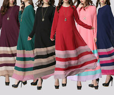 Women Long Dress striped maxi dress Muslim Clothing Islamic Abaya Kaftan Dresses